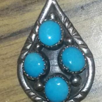 Pendant Southwestern 4 blue Turquoise stones - Native American