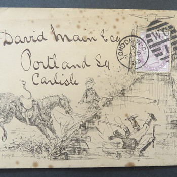 Old Victorian Envelope - Hand drawn Picture! - Stamps