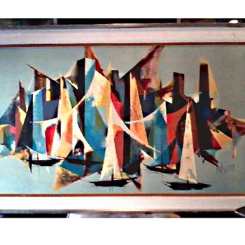 "Tugomir Huberger (Croatia 1931-2001) ""Mediterranee"" 27"" x 45"" Framed / Canvas Mounted on Art Board /Circa Mid-Century - Fine Art"