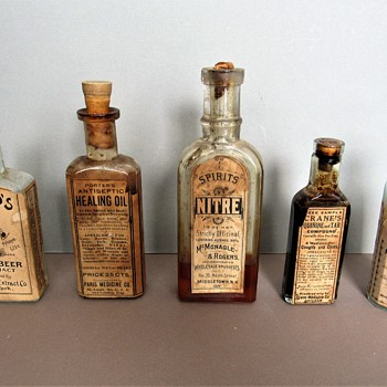 Antique Medicinal Bottles with Labels- Good for MAN or BEAST - Bottles
