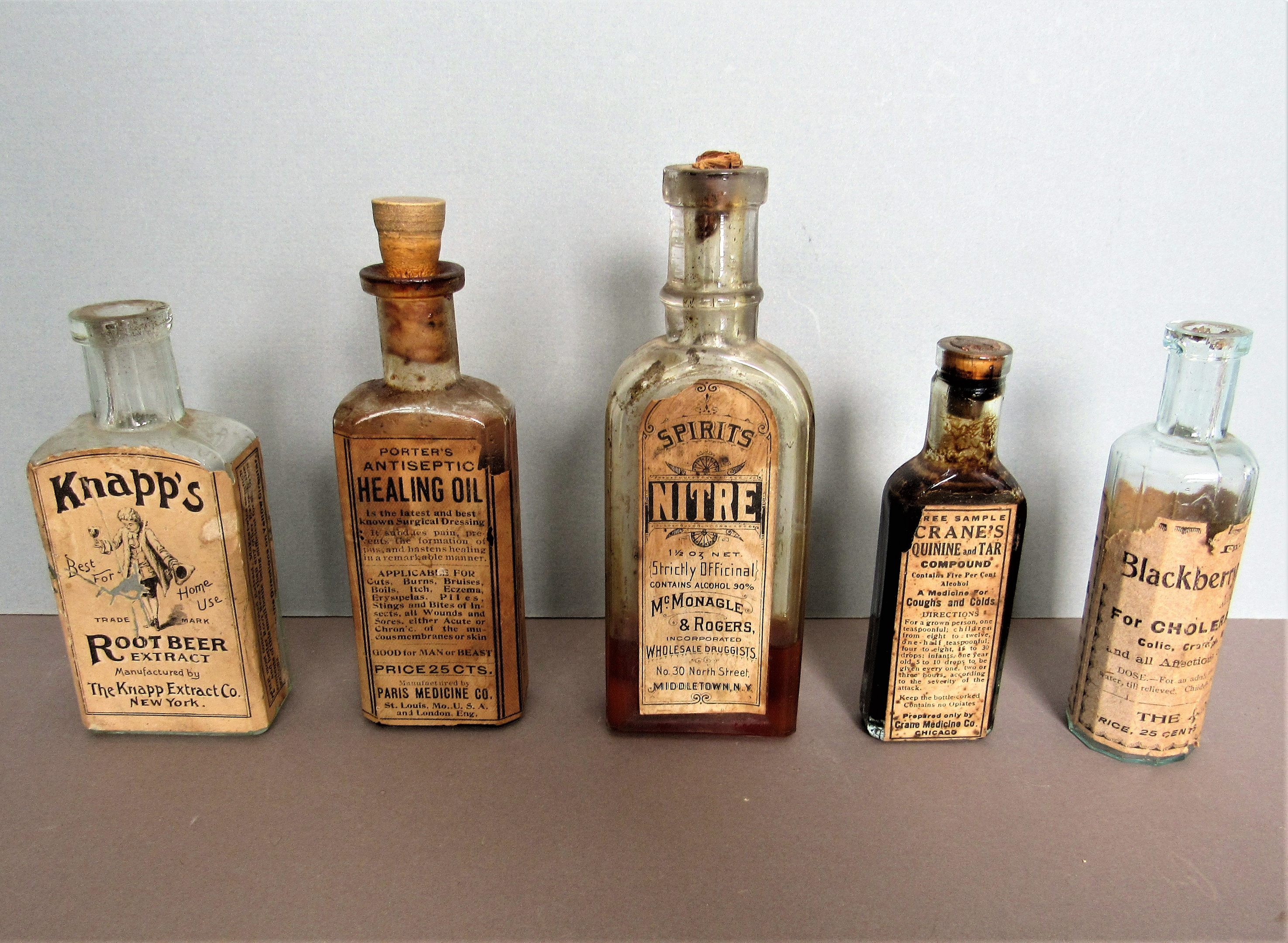 Antique Medicinal Bottles with Labels- Good for MAN or BEAST