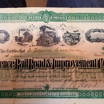 Railroad stock certificate from 1888 - Railroadiana
