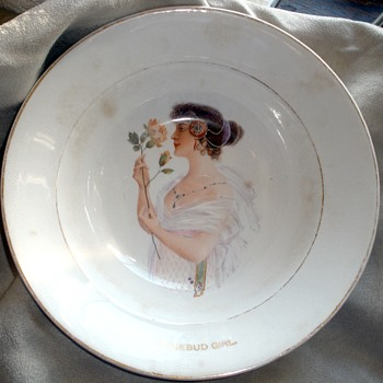 """Eat Rosebud Mush.""  1890's Harker Pottery Advertising Cereal Bowl  Feat.: The Rosebud Girl - Advertising"