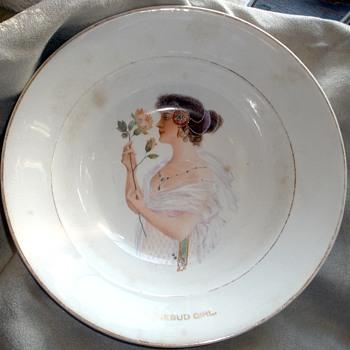 """""""Eat Rosebud Mush.""""  1890's Harker Pottery Advertising Cereal Bowl  Feat.: The Rosebud Girl - Advertising"""