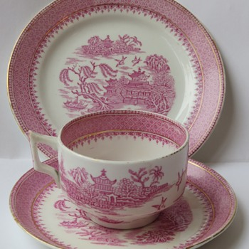 Pink Transfer print Cup and Saucer and Plate