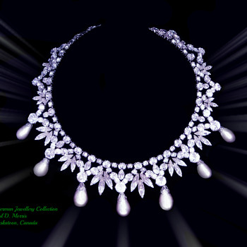 Magnificent Sherman Black Japanned Clear Rhinestone Necklace With Silvered White Pearls  - Costume Jewelry