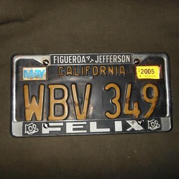 Vintage Felix Chevrolet License Plate Frame Plus Bonus Cars - Advertising