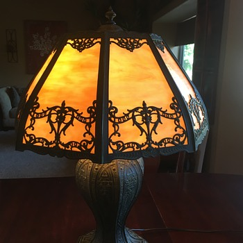 Very old iron or bronze stained glass lamp - Lamps