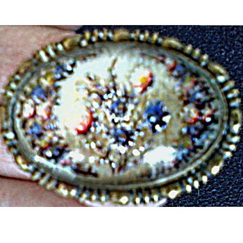 Victorian Intaglio Glass Oval on Brass Brooch /Reverse Painted Floral Design/Circa 19th Century - Costume Jewelry