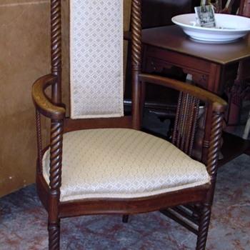 Antique Oak Barley Twist Chair Round Arms