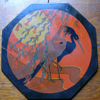 wonderful Chinese lacquer plaque - Art Nouveau
