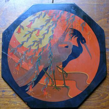 wonderful Chinese lacquer plaque - Art Nouveau