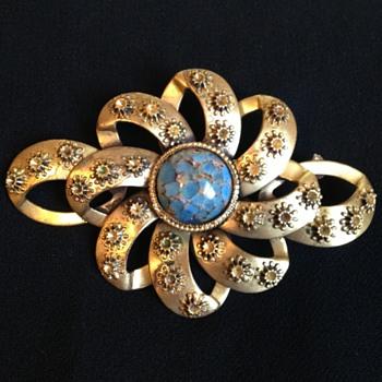 Ornate Art Nouveau Brooch w/ Prett Blue Stone