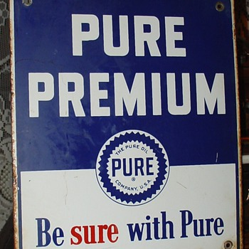 The Pure Oil Company...Pure Premium...Porcelain Pump Sign...1948...Three Colors - Petroliana