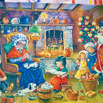"""EARLY TO MID 20th CENTURY """"OPEN THE WINDOWS TO SEE WHAT IS INSIDE"""" CHRISTMAS SCENE - Christmas"""