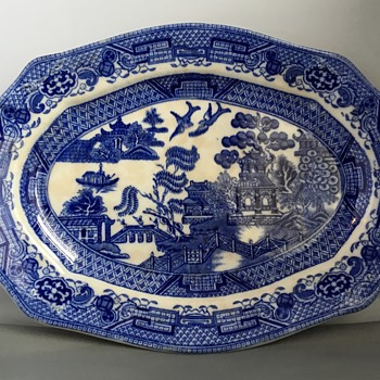 Antique willow pattern platters  - China and Dinnerware