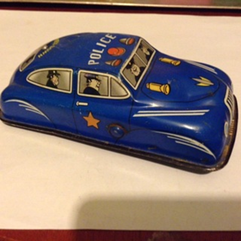 Vintage Tin Police Car...How old is this.  Nice shape. - Toys