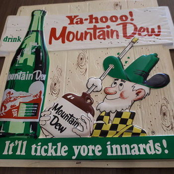 1960's Mountain Dew  vacuformed plastic and cardboard  original sign. - Advertising