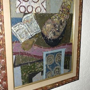 1960 Weiss cubist oil painting maybe Hugh Weiss ? - Fine Art
