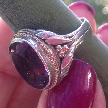 Silver Gold and Amethyst Art Deco Ring - Art Deco