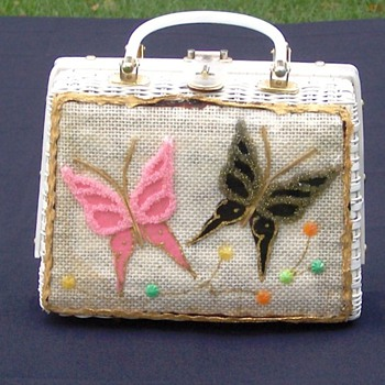 Beaded Butterfly Plastic Wicker Purse - Bags