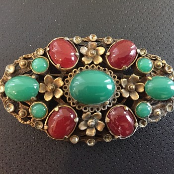 Large Old Glass Cabochon Coro Brooch circa 1930s  - Costume Jewelry