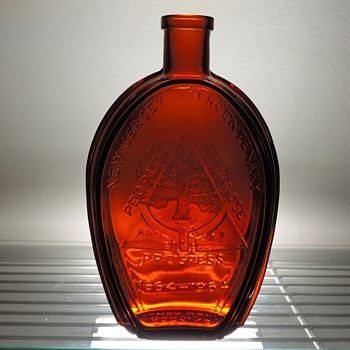 1964 Anchor Hocking New Jersey Tercentenary Bottle Flask Salem Oak Tree Embossed Glass Amber Brown - Bottles