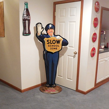 1954 Coca-Cola Policeman Crossing Guard Sign