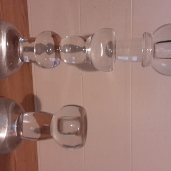 Chr. Sjogren Swedish crystal candle holders,  signed.  - Art Glass