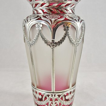 Early Loetz PN I-5116 ca 1894 red cut to clear with silver overlay - Art Glass