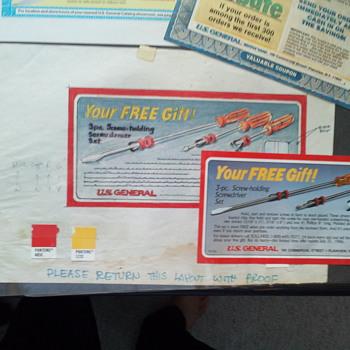 Vintage Black & Decker and US General artist proof ads - Advertising