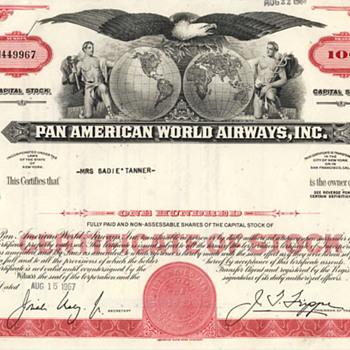 1960s Pan Am, Hojos, and General Motors Stock Certificates - US Paper Money