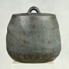 MATTE BLACK STUDIO POTTERY STONEWARE VESSEL WITH LID, SIGNED
