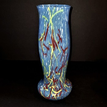 My Latest Find in the Blue Peloton Decor by A. Ruckl & Sons, rare color, vase is 12 inches ball foot shape. - Art Glass