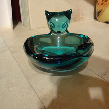 RARE Antonio Da ros Cat Bowl Cenedese - Art Glass
