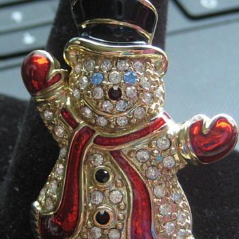 MONET Rhinestone Snowman Pin  - Costume Jewelry