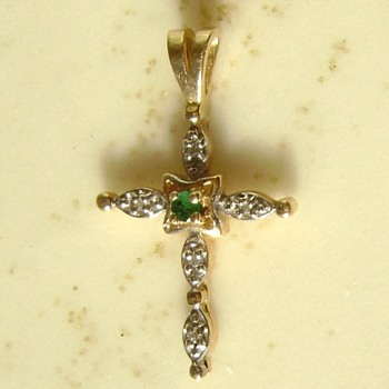 14k Gold and Emerald Cross Pendant - Fine Jewelry
