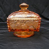amber depression glass candy dish w/ grapevine pattern.