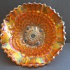 "Imperial Carnival Glass Dish ""Scroll Embossed"" with ""File"" on reverse."