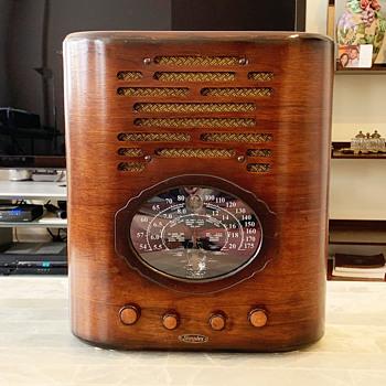 Simplex D, Deluxe Oval Tombstone Tube Radio- Art Deco - Radios