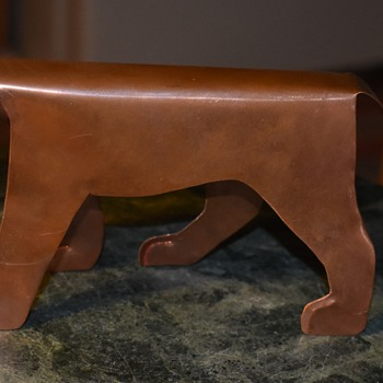 Cut-out Copper Tiger signed 'MM' - Animals