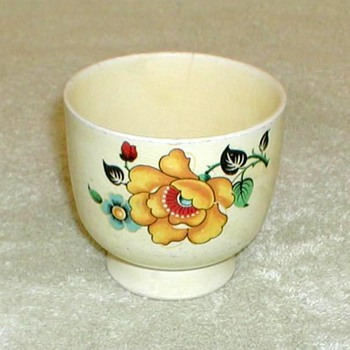 Yellow China Egg Cup with Floral Pattern - China and Dinnerware