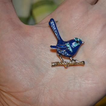 Blue bird enamel brooch - Costume Jewelry