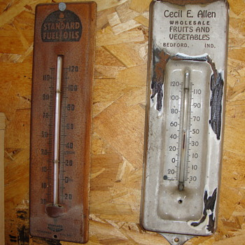 Two old thermometers found in basements....STANDARD FUEL OIL & CECIL E. ALLEN..BEDFORD, INDIANA - Advertising