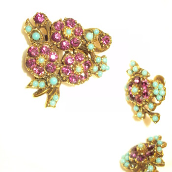 Purple and turquoise floral pin and earring set - Costume Jewelry