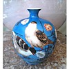 "Little 5"" Azure Blue Asian Vase /Hand Painted Pigeons with Flowers/Unknown Maker and Age"