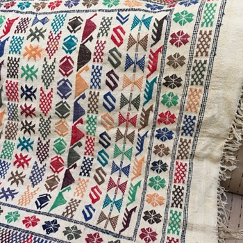 Hand woven, Hand embroidered Turkish symbols blanket, wall hanging, kilim, mat - Rugs and Textiles