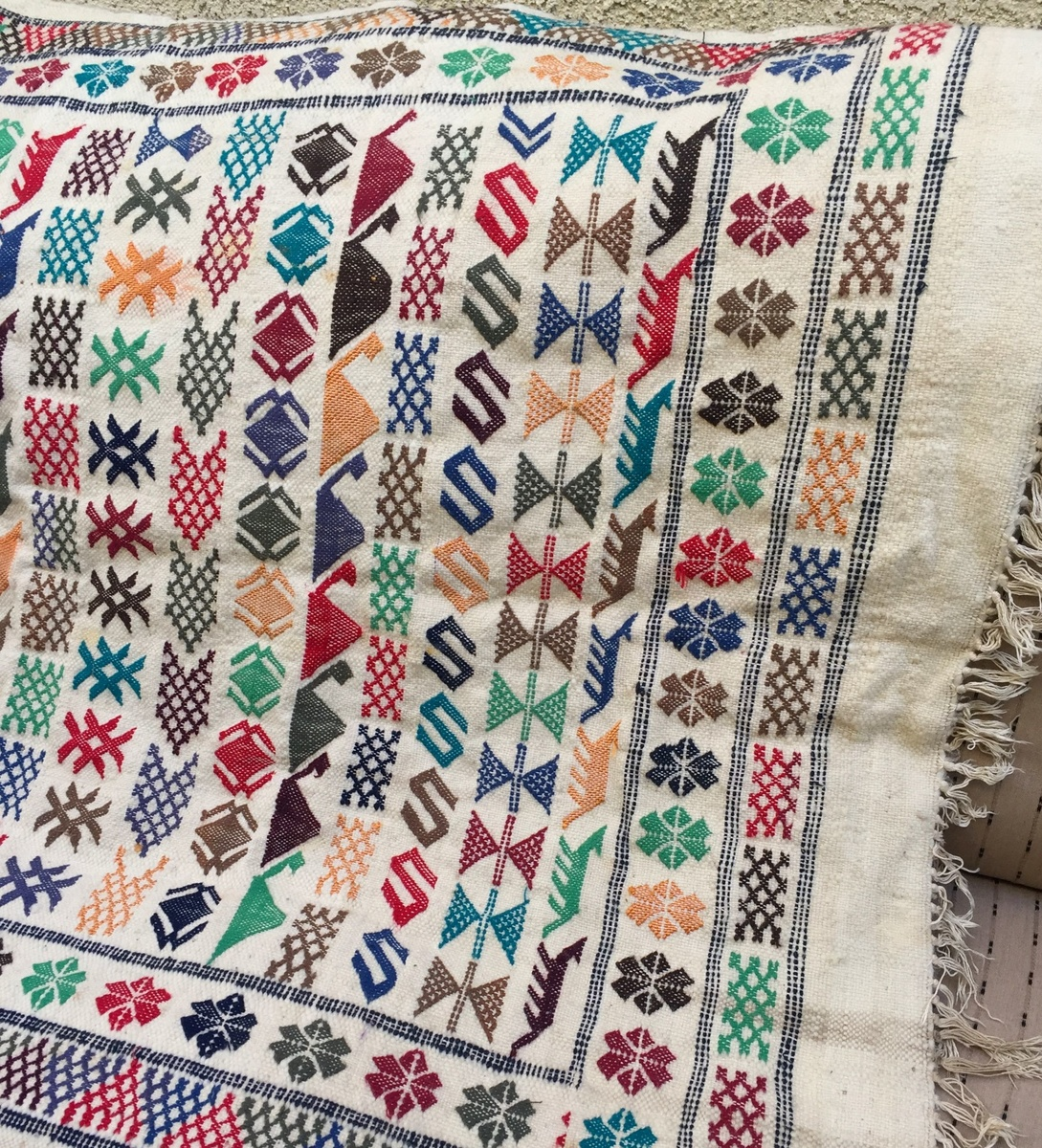 Hang Blanket On Wall hand woven, hand embroidered turkish symbols blanket, wall hanging
