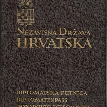 1941 NDH Croatian Diplomatic passport - Paper