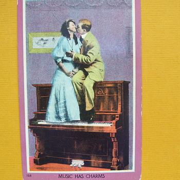"""2 Vintage Postcards, show MEN GETTING """"FRESH"""" ON TOP OF PIANOS! - Postcards"""